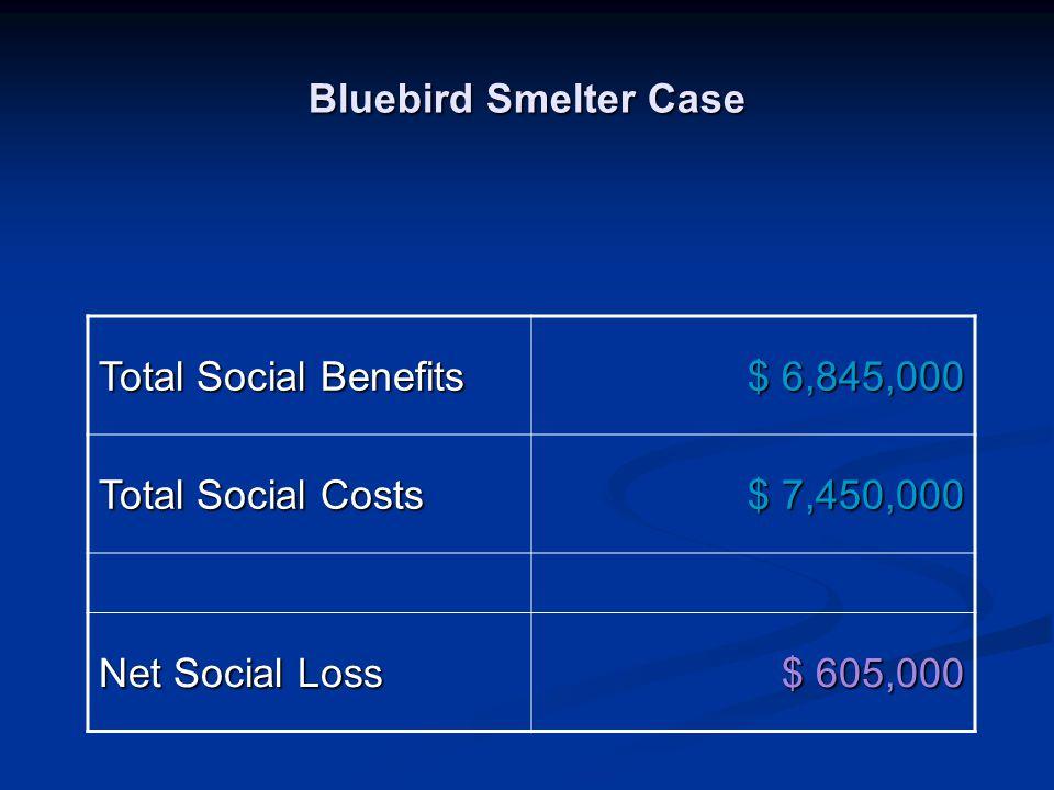 Bluebird Smelter Case Total Social Benefits $ 6,845,000 Total Social Costs $ 7,450,000 Net Social Loss $ 605,000