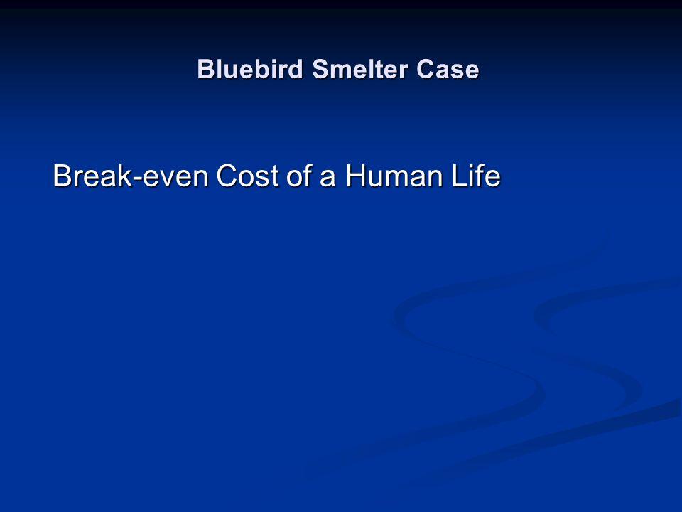 Bluebird Smelter Case Break-even Cost of a Human Life