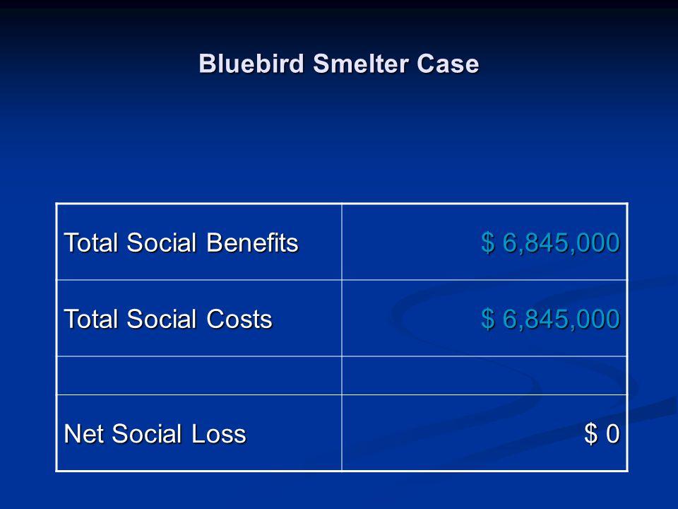 Bluebird Smelter Case Total Social Benefits $ 6,845,000 Total Social Costs $ 6,845,000 Net Social Loss $ 0