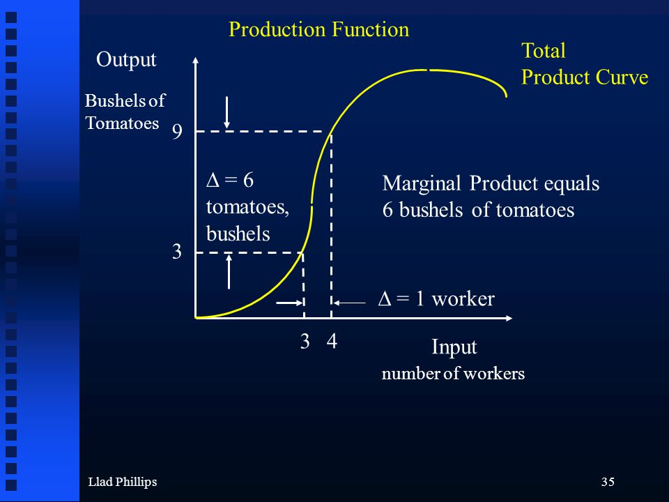 Llad Phillips35 Output Input Bushels of Tomatoes number of workers Production Function 3 4 ∆ = 1 worker 9 3 ∆ = 6 tomatoes, bushels Marginal Product equals 6 bushels of tomatoes Total Product Curve