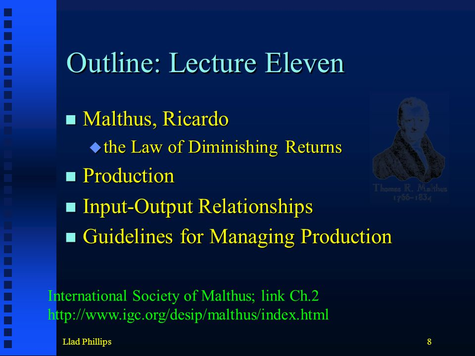 Llad Phillips8 Outline: Lecture Eleven Malthus, Ricardo Malthus, Ricardo  the Law of Diminishing Returns Production Production Input-Output Relationships Input-Output Relationships Guidelines for Managing Production Guidelines for Managing Production International Society of Malthus; link Ch.2 http://www.igc.org/desip/malthus/index.html