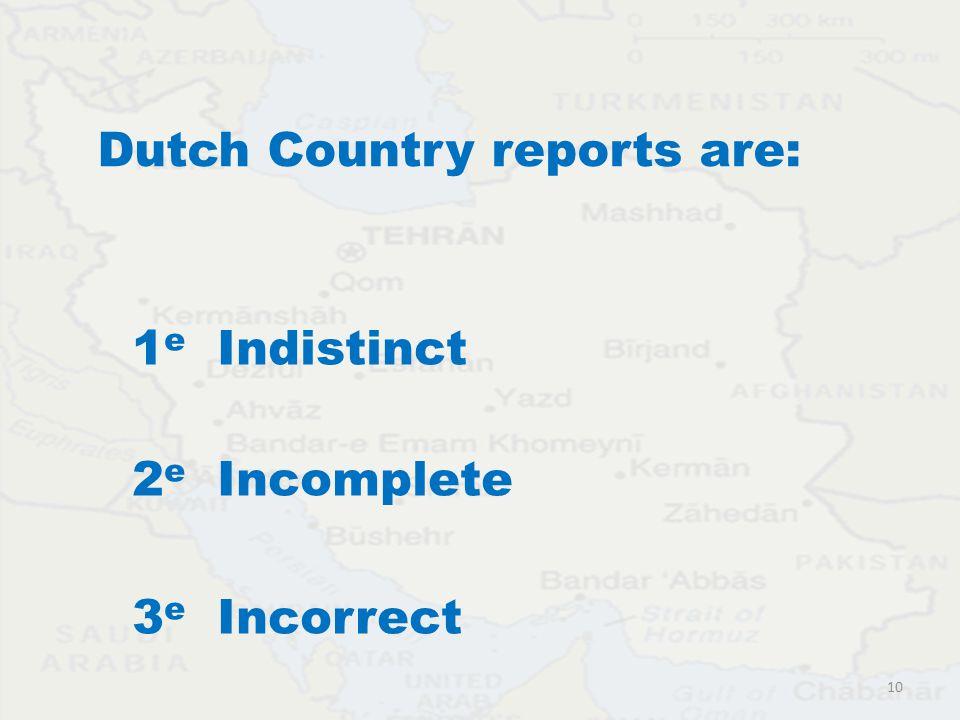 Dutch Country reports are: 1 e Indistinct 2 e Incomplete 3 e Incorrect 10