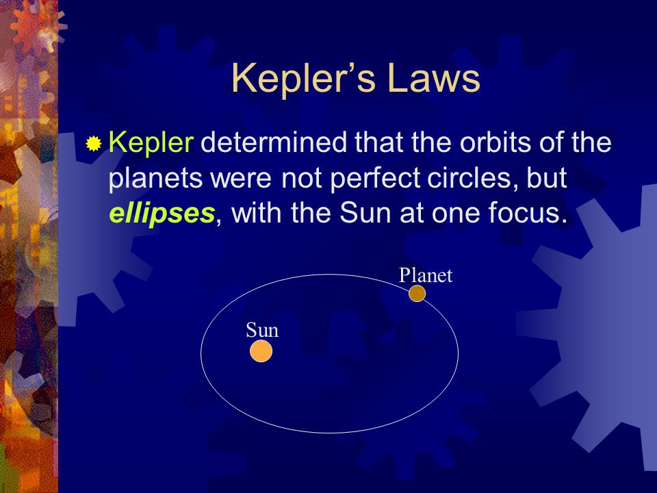 Kepler's Laws  Kepler determined that the orbits of the planets were not perfect circles, but ellipses, with the Sun at one focus. Sun Planet