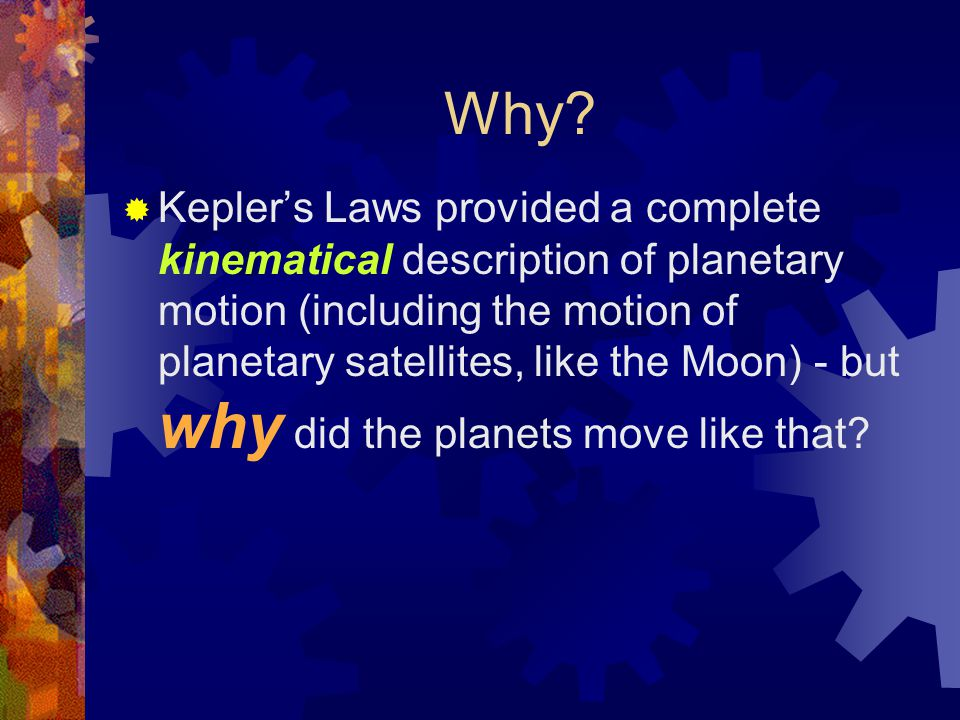 Why?  Kepler's Laws provided a complete kinematical description of planetary motion (including the motion of planetary satellites, like the Moon) - b