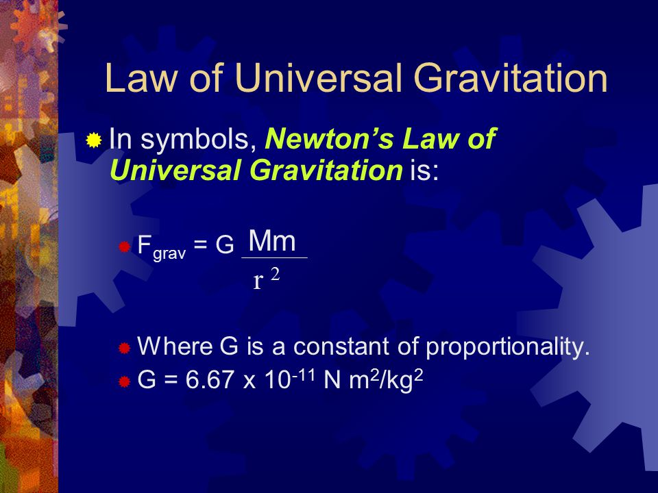 Law of Universal Gravitation  In symbols, Newton's Law of Universal Gravitation is:  F grav = G  Where G is a constant of proportionality.  G = 6.