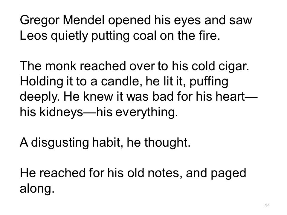 Gregor Mendel opened his eyes and saw Leos quietly putting coal on the fire.
