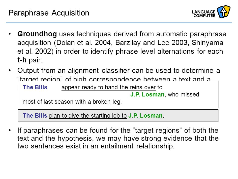 Paraphrase Acquisition Groundhog uses techniques derived from automatic paraphrase acquisition (Dolan et al.