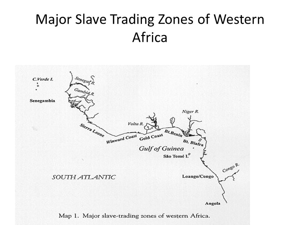 Major Slave Trading Zones of Western Africa