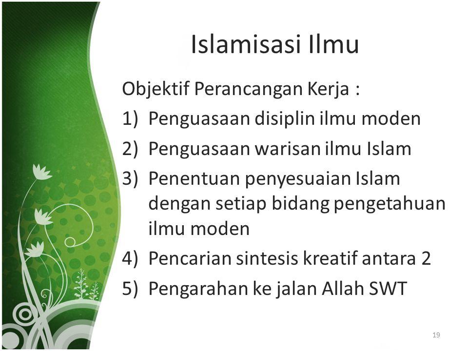 Islamisasi Ilmu Objektif Perancangan Kerja : 1)Penguasaan disiplin ilmu moden 2)Penguasaan warisan ilmu Islam 3)Penentuan penyesuaian Islam dengan set