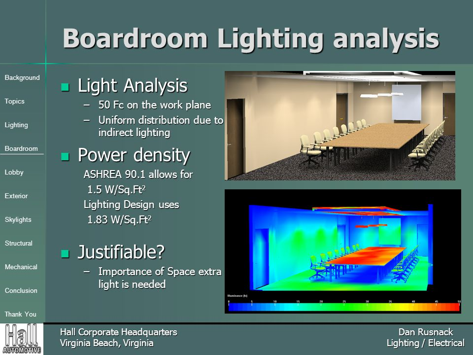 Background Topics Lighting Boardroom Lobby Exterior Skylights Structural Mechanical Conclusion Thank You Hall Corporate Headquarters Virginia Beach, Virginia Dan Rusnack Lighting / Electrical Boardroom Lighting analysis Light Analysis Light Analysis –50 Fc on the work plane –Uniform distribution due to indirect lighting Power density Power density ASHREA 90.1 allows for 1.5 W/Sq.Ft 2 1.5 W/Sq.Ft 2 Lighting Design uses 1.83 W/Sq.Ft 2 1.83 W/Sq.Ft 2 Justifiable.