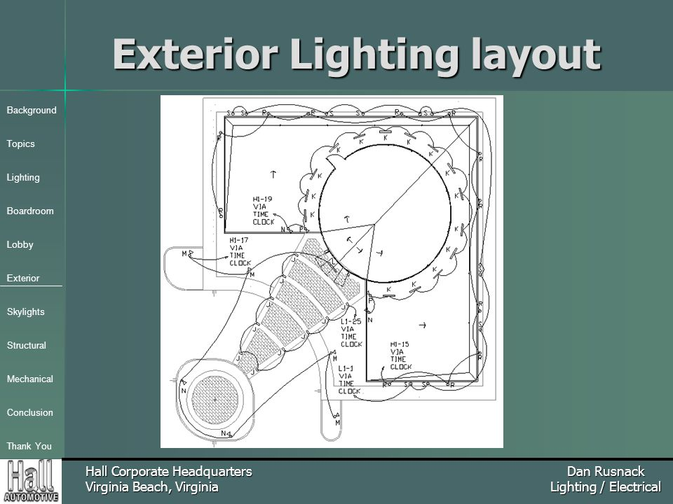 Background Topics Lighting Boardroom Lobby Exterior Skylights Structural Mechanical Conclusion Thank You Hall Corporate Headquarters Virginia Beach, Virginia Dan Rusnack Lighting / Electrical Exterior Lighting layout