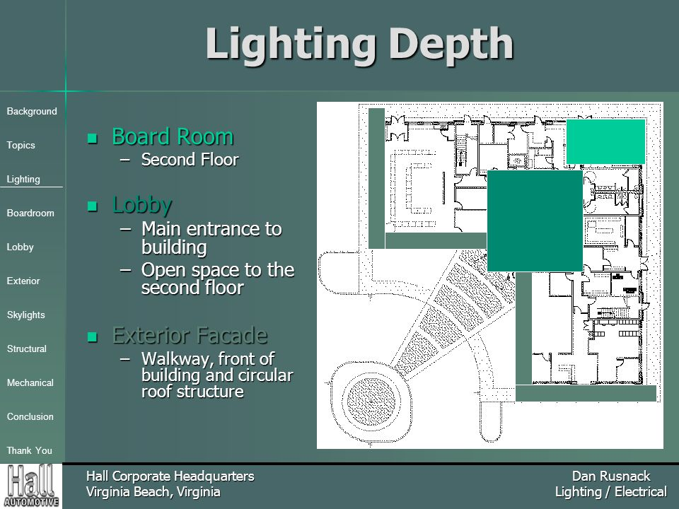 Background Topics Lighting Boardroom Lobby Exterior Skylights Structural Mechanical Conclusion Thank You Hall Corporate Headquarters Virginia Beach, Virginia Dan Rusnack Lighting / Electrical Lighting Depth Board Room Board Room –Second Floor Lobby Lobby –Main entrance to building –Open space to the second floor Exterior Facade Exterior Facade –Walkway, front of building and circular roof structure