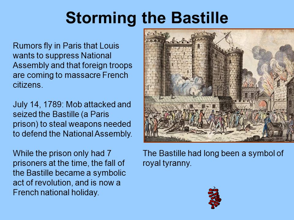 Rumors fly in Paris that Louis wants to suppress National Assembly and that foreign troops are coming to massacre French citizens. July 14, 1789: Mob