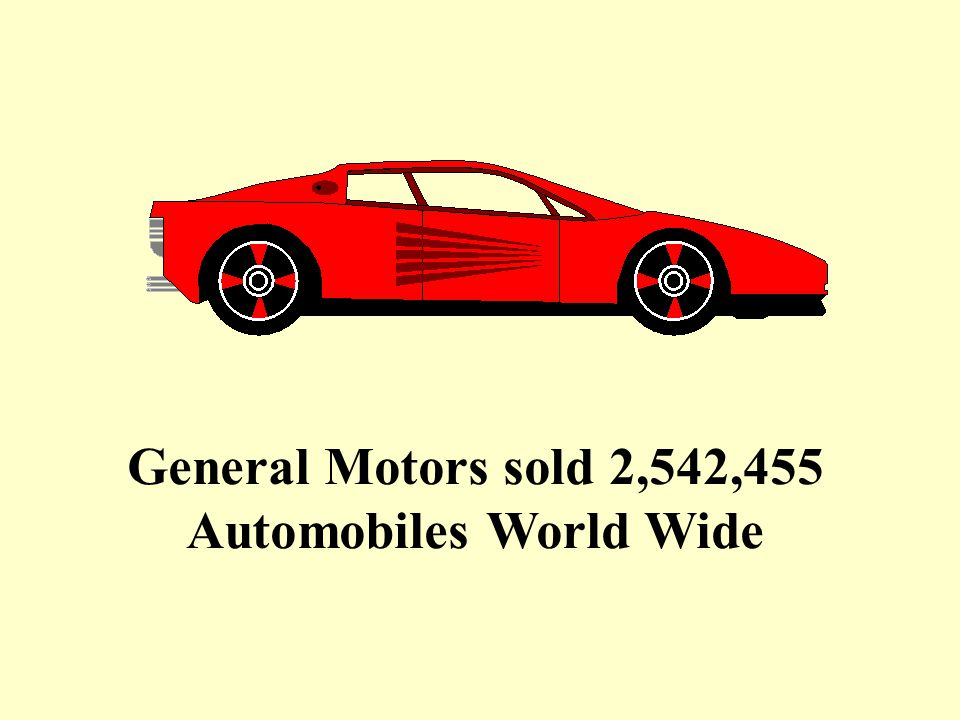 General Motors sold 2,542,455 Automobiles World Wide