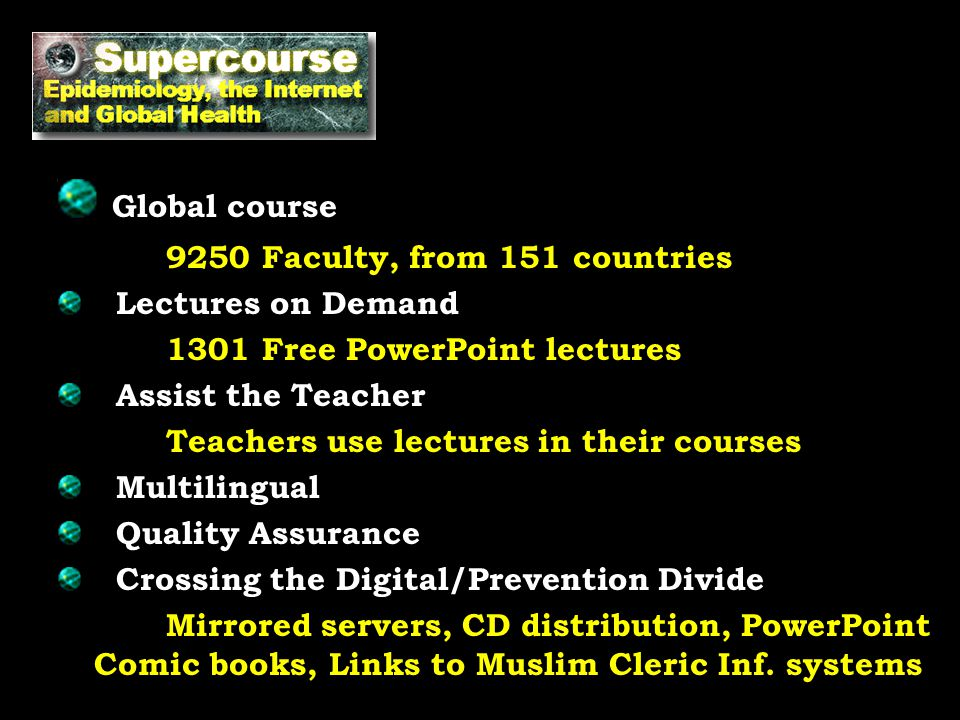 Global course 9250 Faculty, from 151 countries Lectures on Demand 1301 Free PowerPoint lectures Assist the Teacher Teachers use lectures in their cour