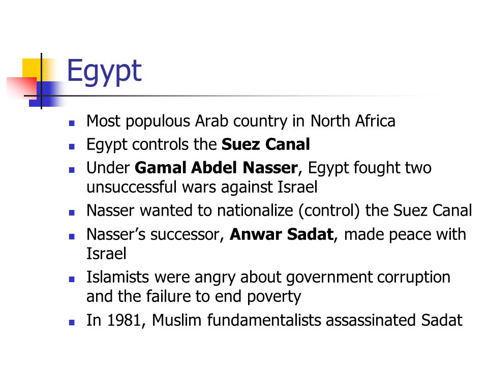 Egypt Most populous Arab country in North Africa Egypt controls the Suez Canal Under Gamal Abdel Nasser, Egypt fought two unsuccessful wars against Is