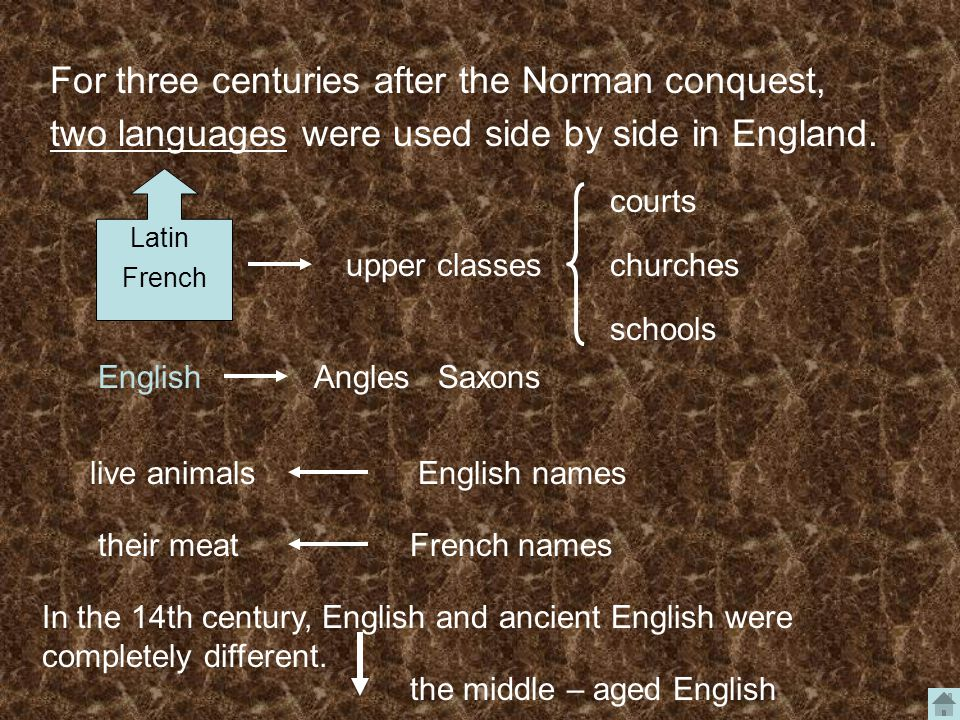 For three centuries after the Norman conquest, two languages were used side by side in England.