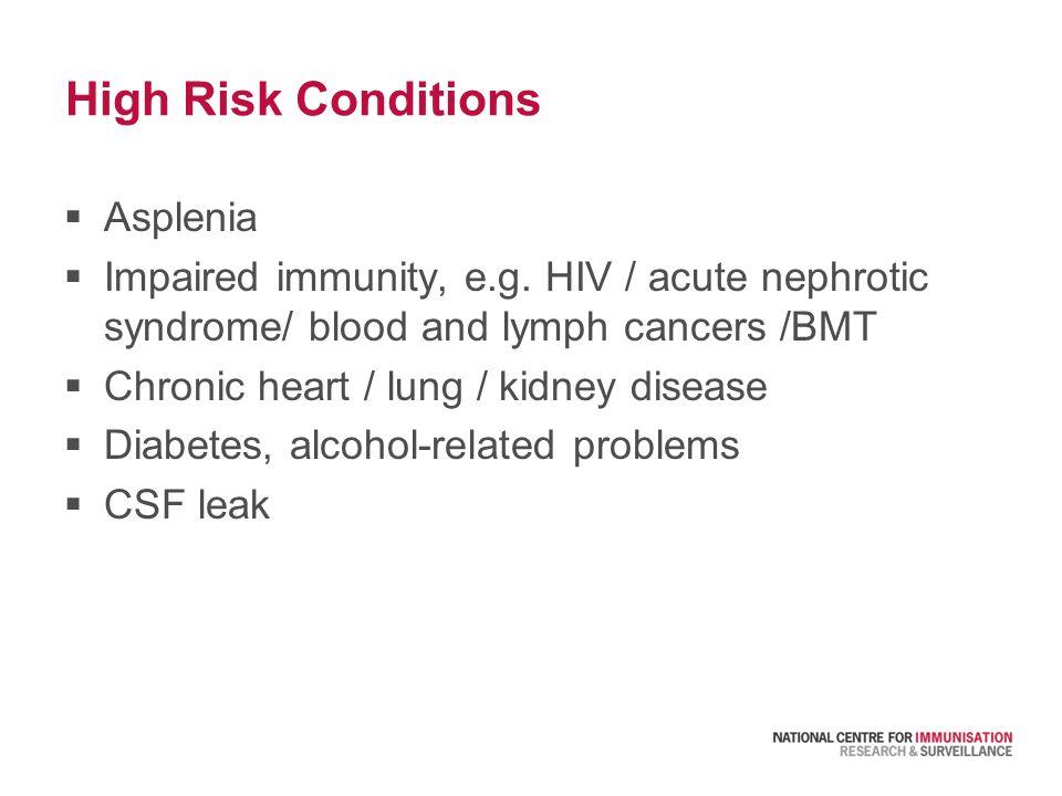 High Risk Conditions  Asplenia  Impaired immunity, e.g.