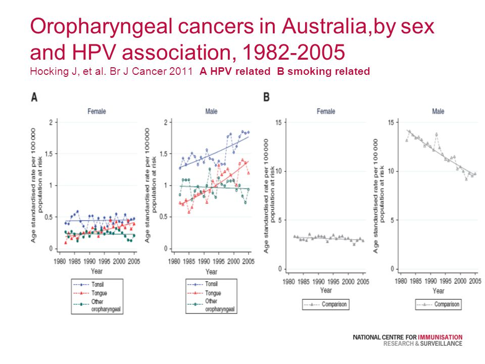 Oropharyngeal cancers in Australia,by sex and HPV association, 1982-2005 Hocking J, et al.