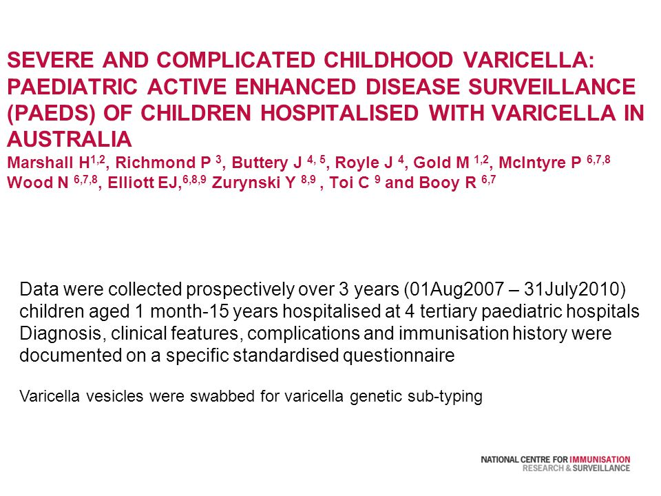 SEVERE AND COMPLICATED CHILDHOOD VARICELLA: PAEDIATRIC ACTIVE ENHANCED DISEASE SURVEILLANCE (PAEDS) OF CHILDREN HOSPITALISED WITH VARICELLA IN AUSTRALIA Marshall H 1,2, Richmond P 3, Buttery J 4, 5, Royle J 4, Gold M 1,2, McIntyre P 6,7,8 Wood N 6,7,8, Elliott EJ, 6,8,9 Zurynski Y 8,9, Toi C 9 and Booy R 6,7 Data were collected prospectively over 3 years (01Aug2007 – 31July2010) children aged 1 month-15 years hospitalised at 4 tertiary paediatric hospitals Diagnosis, clinical features, complications and immunisation history were documented on a specific standardised questionnaire Varicella vesicles were swabbed for varicella genetic sub-typing