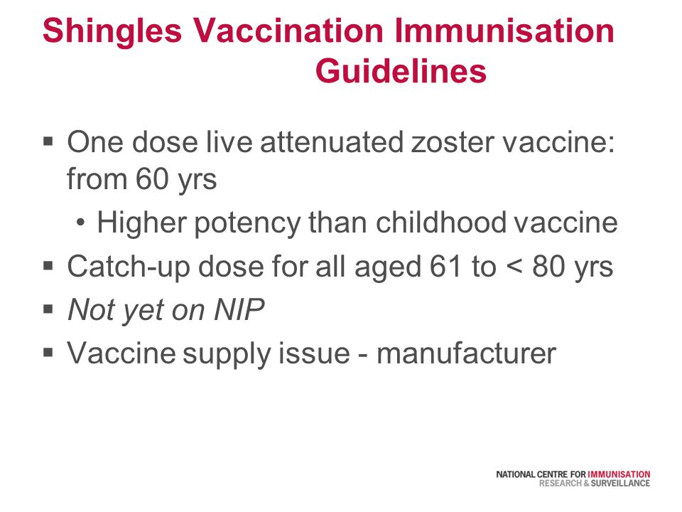 Shingles Vaccination Immunisation Guidelines  One dose live attenuated zoster vaccine: from 60 yrs Higher potency than childhood vaccine  Catch-up dose for all aged 61 to < 80 yrs  Not yet on NIP  Vaccine supply issue - manufacturer