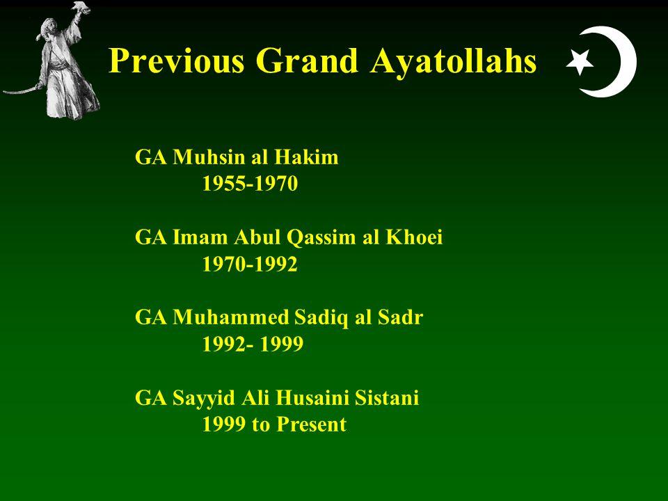  Previous Grand Ayatollahs GA Muhsin al Hakim 1955-1970 GA Imam Abul Qassim al Khoei 1970-1992 GA Muhammed Sadiq al Sadr 1992- 1999 GA Sayyid Ali Husaini Sistani 1999 to Present