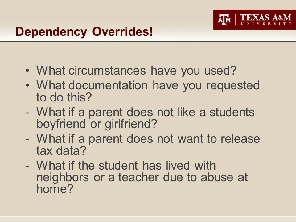 Dependency Overrides. What circumstances have you used.