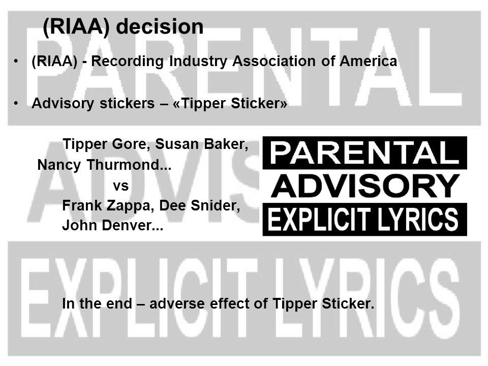 (RIAA) - Recording Industry Association of America Advisory stickers – «Tipper Sticker» Tipper Gore, Susan Baker, Nancy Thurmond... vs Frank Zappa, De