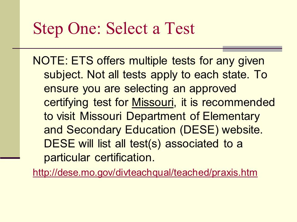 NOTE: ETS offers multiple tests for any given subject.