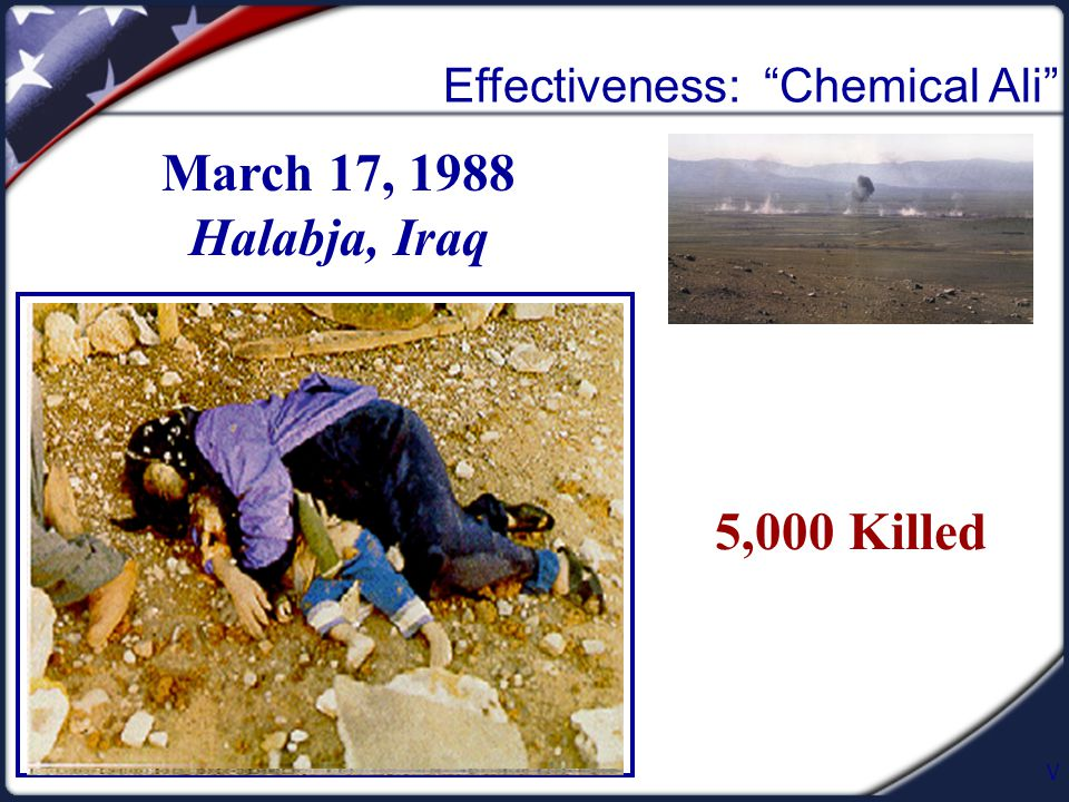 V Effectiveness: Chemical Ali March 17, 1988 Halabja, Iraq 5,000 Killed