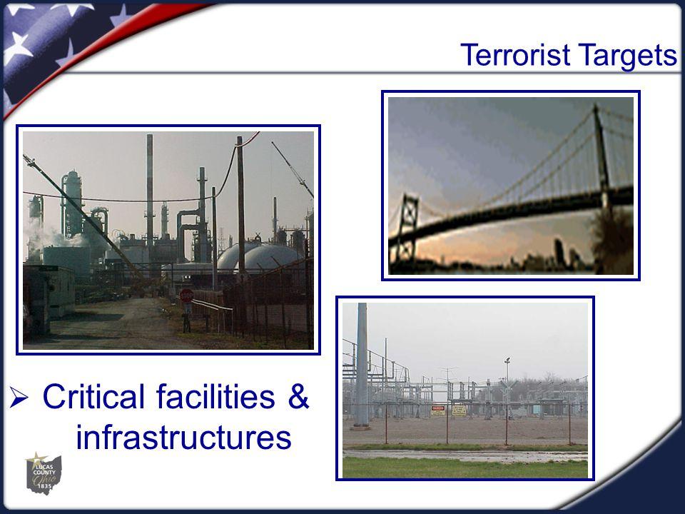 Terrorist Targets  Critical facilities & infrastructures