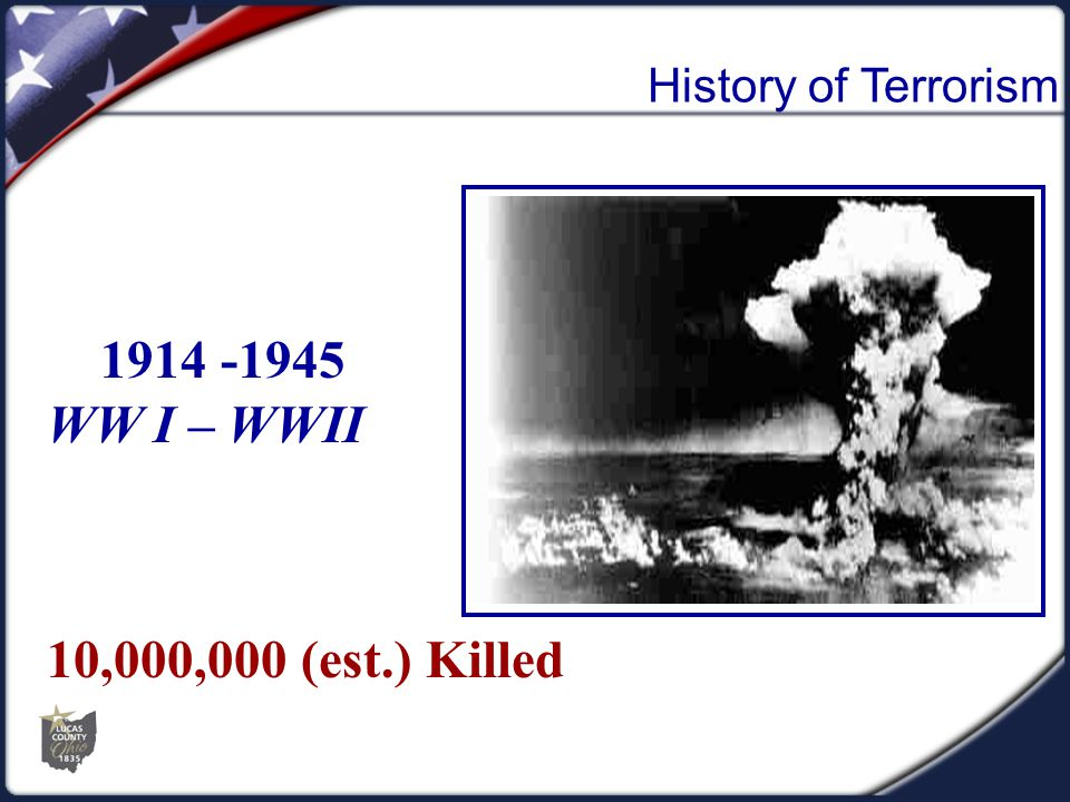 1914 -1945 WW I – WWII 10,000,000 (est.) Killed
