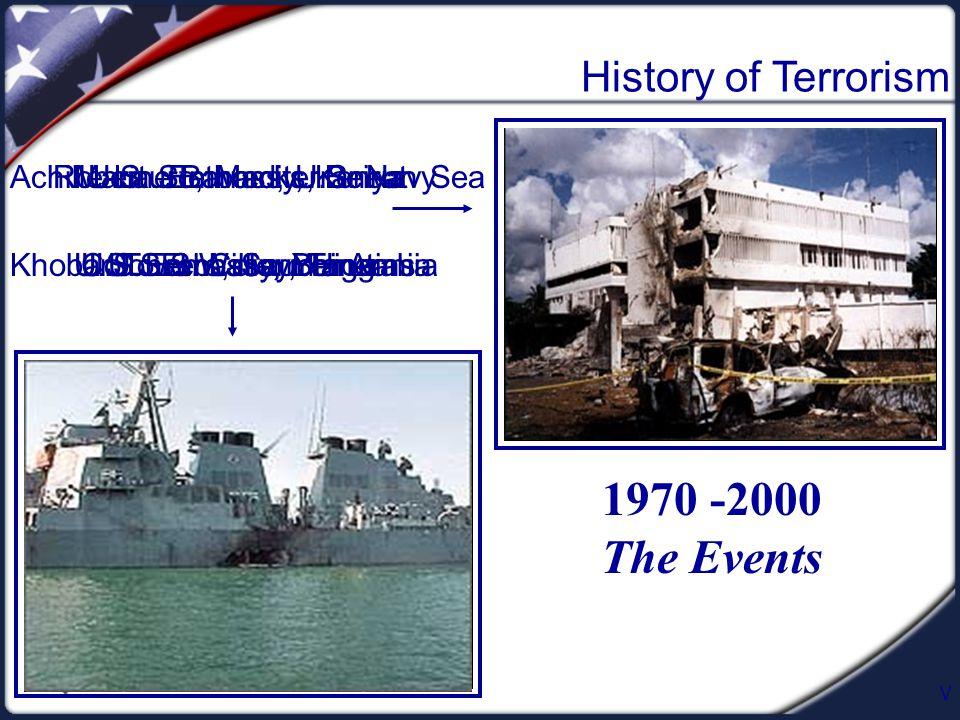 V History of Terrorism 1970 -2000 The Events Marine Barracks, Beirut U.S. Embassy, BeirutKhobar Towers, Saudia Arabia Achille-Lauro, Mediterranean Sea