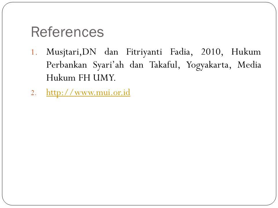 References 1. Musjtari,DN dan Fitriyanti Fadia, 2010, Hukum Perbankan Syari'ah dan Takaful, Yogyakarta, Media Hukum FH UMY. 2. http://www.mui.or.id ht
