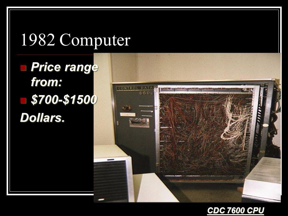 1982 Computer Price range from: Price range from: $700-$1500 $700-$1500Dollars. CDC 7600 CPU