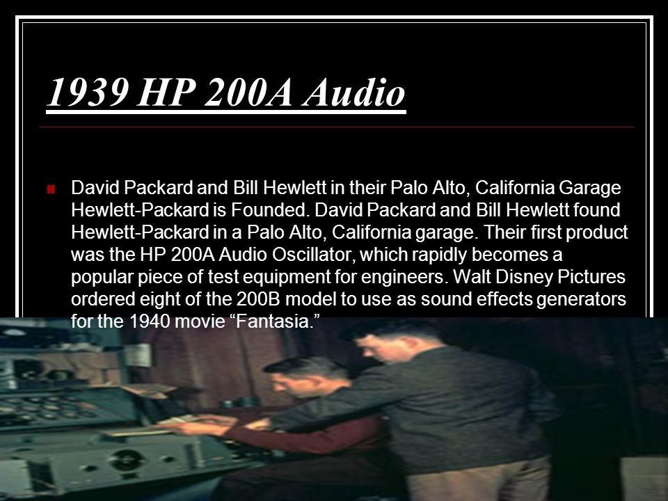 1939 HP 200A Audio David Packard and Bill Hewlett in their Palo Alto, California Garage Hewlett-Packard is Founded. David Packard and Bill Hewlett fou