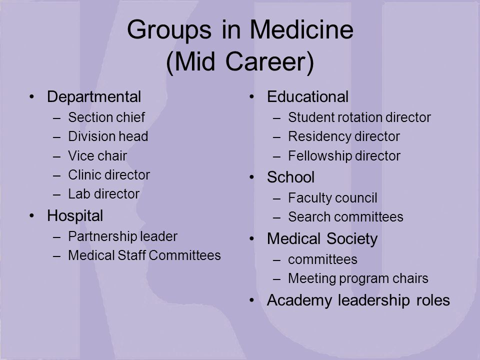 Groups in Medicine (Mid Career) Departmental –Section chief –Division head –Vice chair –Clinic director –Lab director Hospital –Partnership leader –Medical Staff Committees Educational –Student rotation director –Residency director –Fellowship director School –Faculty council –Search committees Medical Society –committees –Meeting program chairs Academy leadership roles