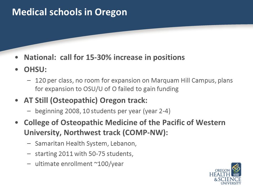 Medical schools in Oregon National: call for 15-30% increase in positions OHSU: –120 per class, no room for expansion on Marquam Hill Campus, plans fo