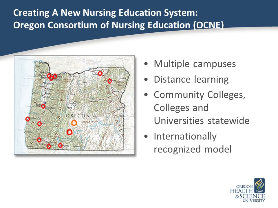 Creating A New Nursing Education System: Oregon Consortium of Nursing Education (OCNE) Multiple campuses Distance learning Community Colleges, College