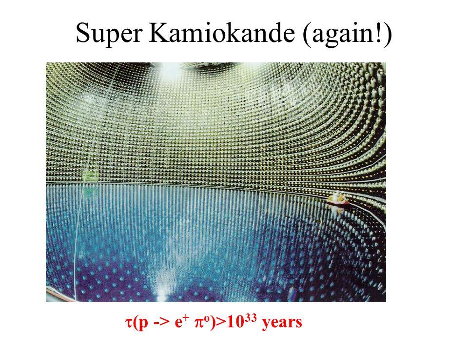 Super Kamiokande (again!)  (p -> e +  o )>10 33 years
