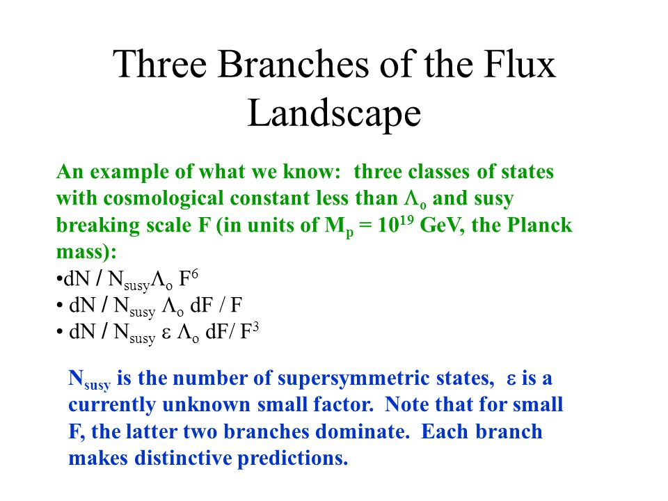 Three Branches of the Flux Landscape An example of what we know: three classes of states with cosmological constant less than  o and susy breaking scale F (in units of M p = 10 19 GeV, the Planck mass): dN / N susy  o F 6 dN / N susy  o dF / F dN / N susy   o dF/ F 3 N susy is the number of supersymmetric states,  is a currently unknown small factor.