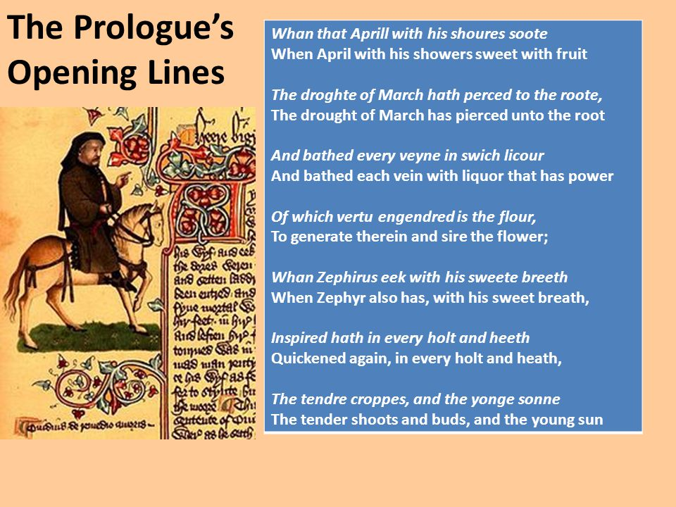 The Prologue's Opening Lines Whan that Aprill with his shoures soote When April with his showers sweet with fruit The droghte of March hath perced to