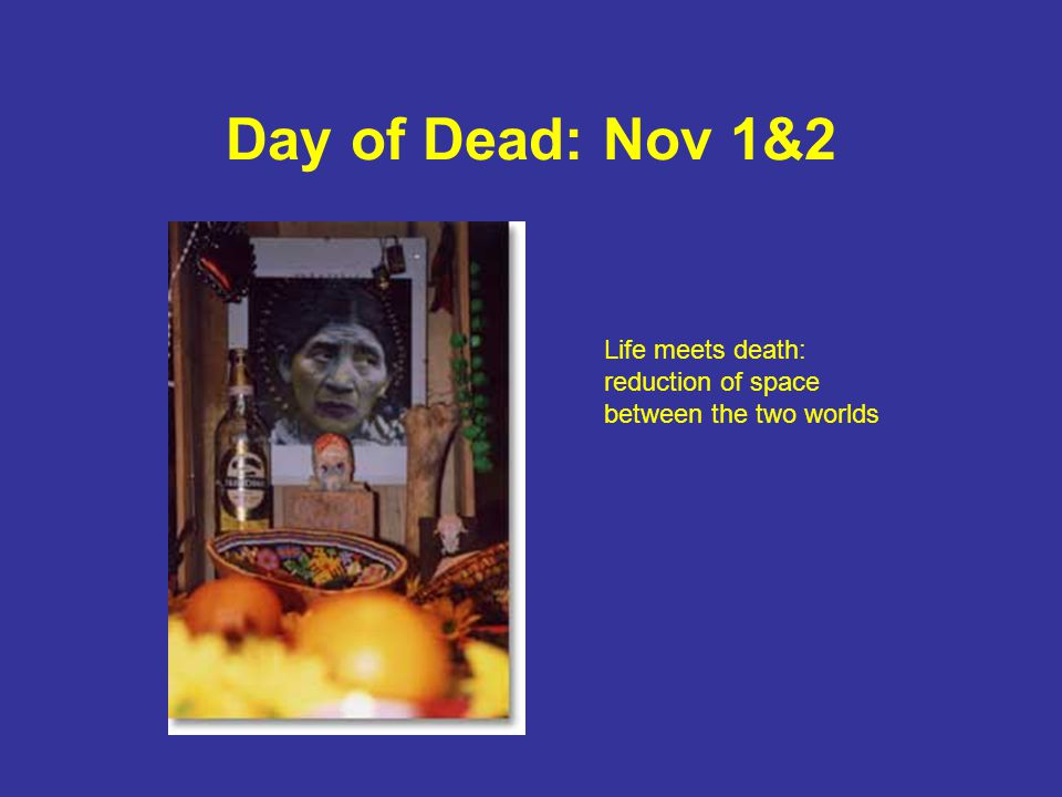 Day of Dead: Nov 1&2 Life meets death: reduction of space between the two worlds