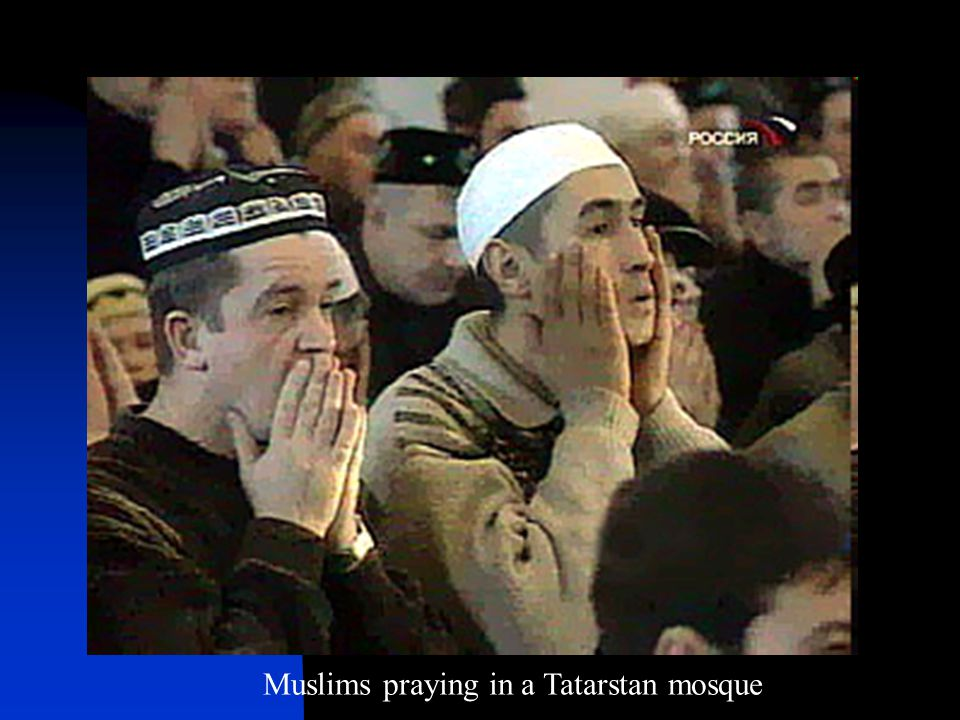 Muslims praying in a Tatarstan mosque