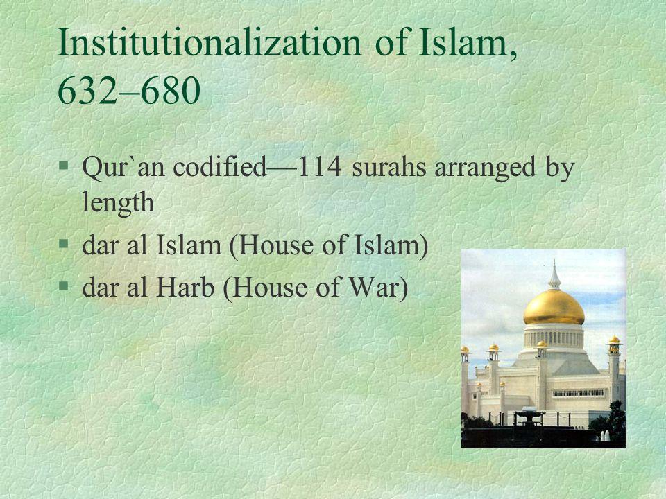 Institutionalization of Islam, 632–680 §Qur`an codified—114 surahs arranged by length §dar al Islam (House of Islam) §dar al Harb (House of War)