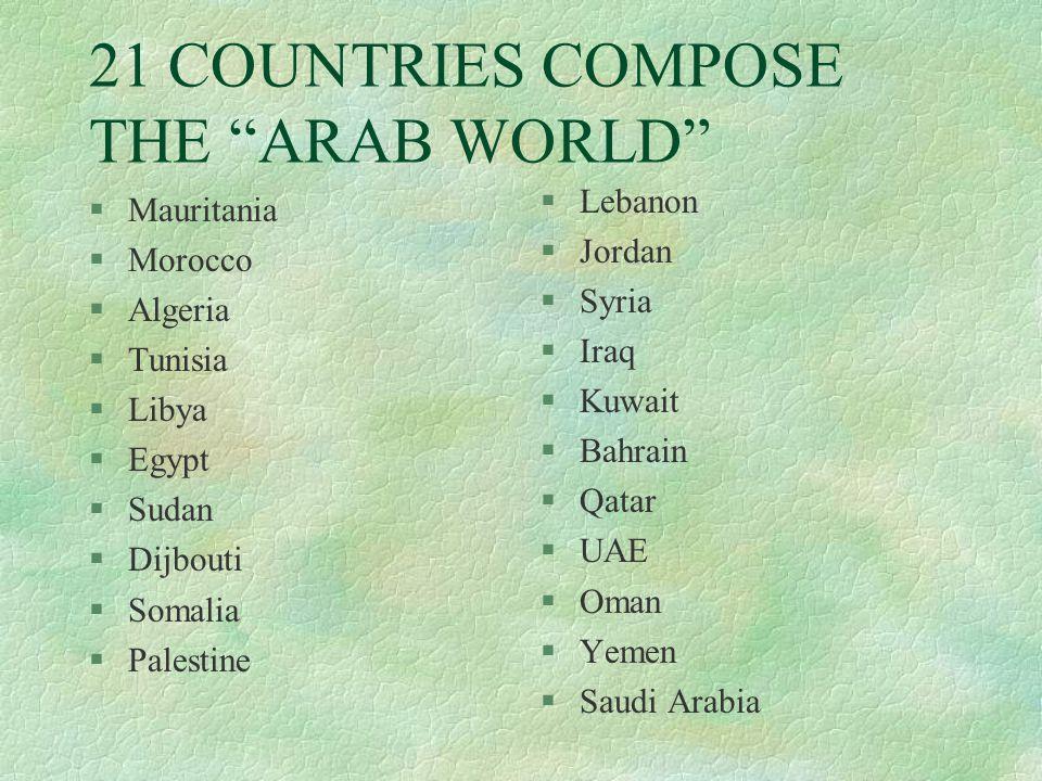 21 COUNTRIES COMPOSE THE ARAB WORLD §Mauritania §Morocco §Algeria §Tunisia §Libya §Egypt §Sudan §Dijbouti §Somalia §Palestine §Lebanon §Jordan §Syria §Iraq §Kuwait §Bahrain §Qatar §UAE §Oman §Yemen §Saudi Arabia