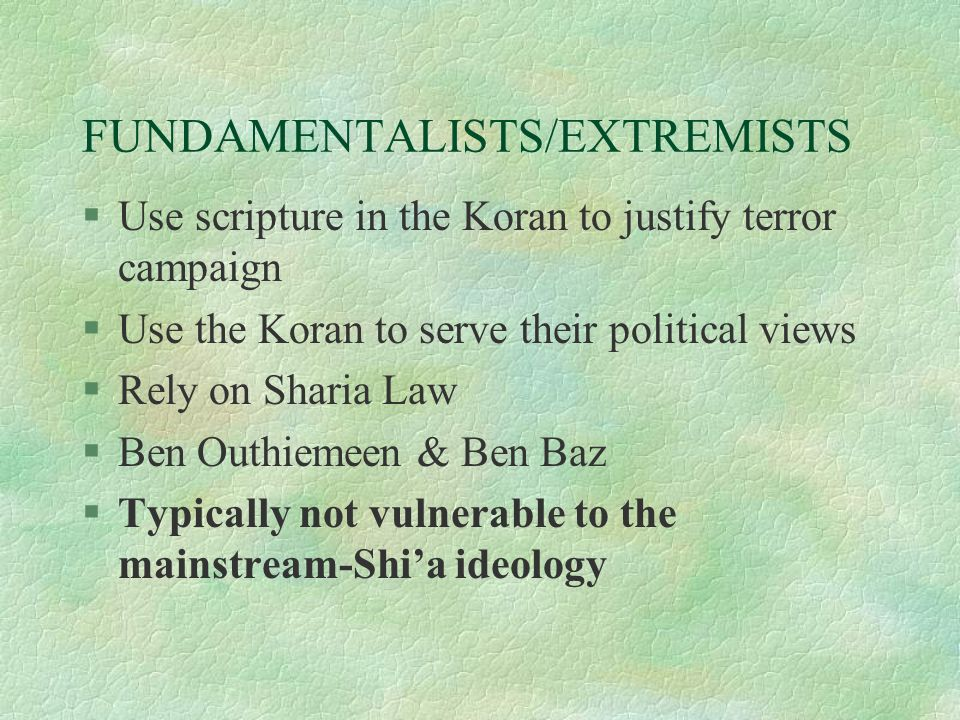 FUNDAMENTALISTS/EXTREMISTS §Use scripture in the Koran to justify terror campaign §Use the Koran to serve their political views §Rely on Sharia Law §Ben Outhiemeen & Ben Baz §Typically not vulnerable to the mainstream-Shi'a ideology
