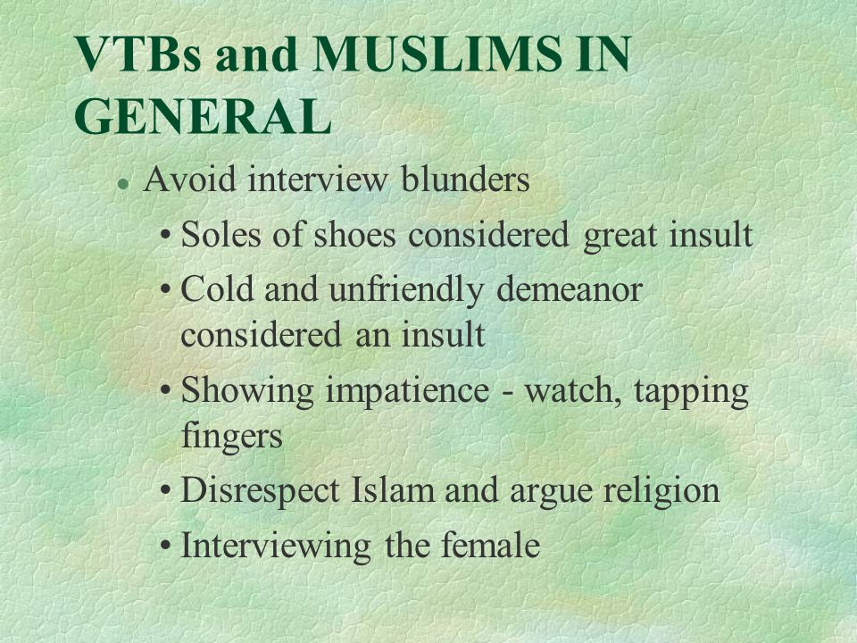 VTBs and MUSLIMS IN GENERAL l Avoid interview blunders Soles of shoes considered great insult Cold and unfriendly demeanor considered an insult Showing impatience - watch, tapping fingers Disrespect Islam and argue religion Interviewing the female