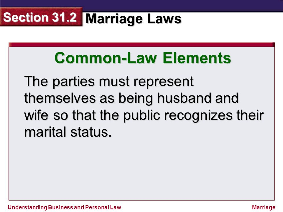 Understanding Business and Personal Law Marriage Laws Section 31.2 Marriage The parties must represent themselves as being husband and wife so that th