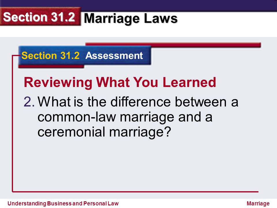 Understanding Business and Personal Law Marriage Laws Section 31.2 Marriage Reviewing What You Learned 2. 2.What is the difference between a common-la